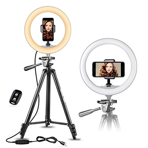 UBeesize 10″ Selfie Ring Light with 50″ Extendable Tripod Stand & Phone Holder for Live Stream/Makeup, Mini Desktop Led Camera Ringlight for YouTube Video, Compatible with iPhone/Android