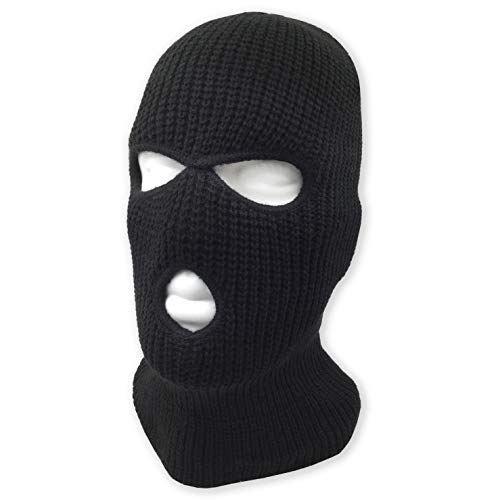 3 Hole Beanie Face Mask Ski - Warm Double Thermal Knitted - Men and Women (Black)]()