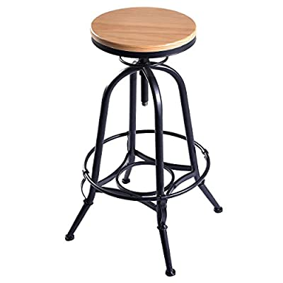 Vintage Bar Stool Industrial Metal Design Wood Top Adjustable Height Swivel