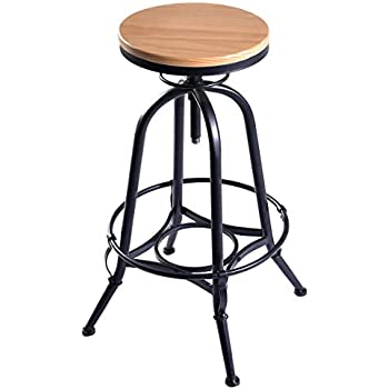 Costway Vintage Bar Stool Metal Frame Wood Top Adjustable Height Swivel Industrial  sc 1 st  Amazon.com & Amazon.com: Best Choice Products Vintage Bar Stool Industrial ... islam-shia.org