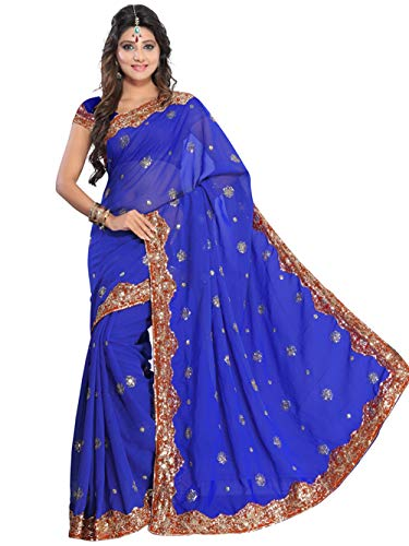 Indian Trendy Women's Bollywood Sequin Embroidered Sari Festival Saree Unstitched Blouse Piece Costume Boho Party Wear (Royal - Blue Sari Silk