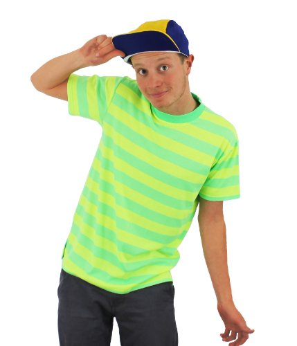 (Mens Yellow Green T-shirt and Cap Fresh Top Bel Air Prince Retro Character Large)