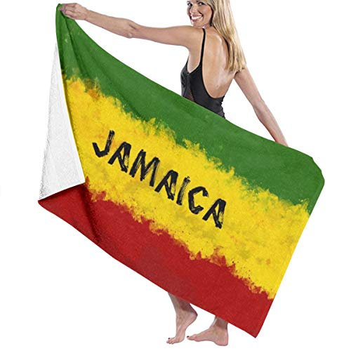 3dFlower Jamaican Flag 100% Polyester Beach Towel Chair Thick Soft Quick Dry Lightweight Absorbent Towels Blanket 32X52 Inch (Jamaican Beach Towel)