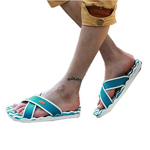 Bininbox Herenslippers Platte Sandaal Ademende Schoenpantoffels Slijtvaste Hemelsblauw