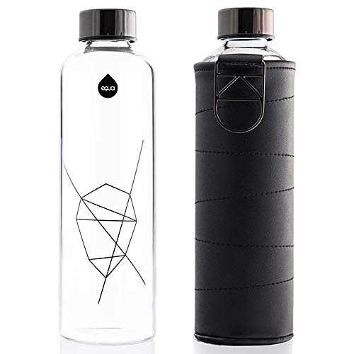 EQUA Glass Water Bottle with Faux Leather Sleeve - 25 oz - Leak Proof and BPA Free - 100% Borosilicate Glass (Graphite)