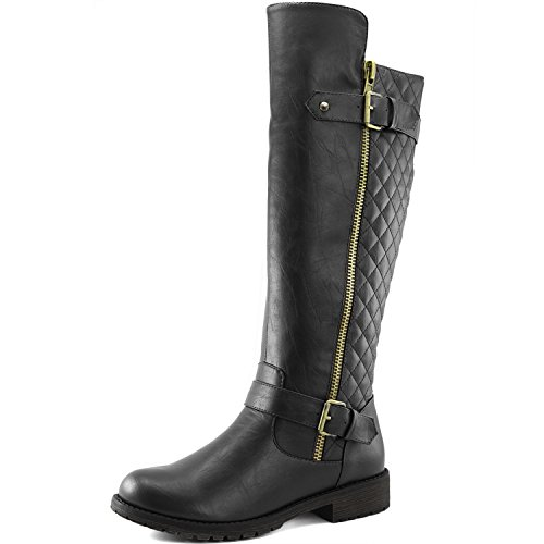 DailyShoes Women's Quilted Round Toe Combat Rider Knee High with Side Pocket - stylishcombatboots.com