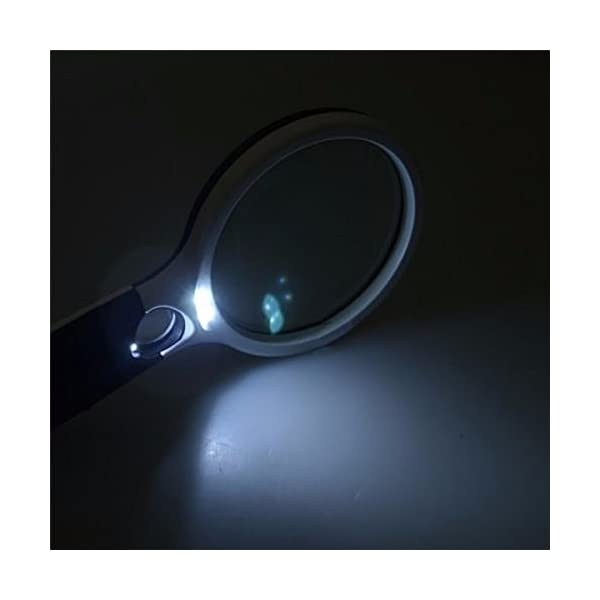 Zonku Magnifier 3 LED Light Hand-Held Maganifier Glass for Microscope Reading Maganifying Glass Lens Jewelry Loupe- White 4