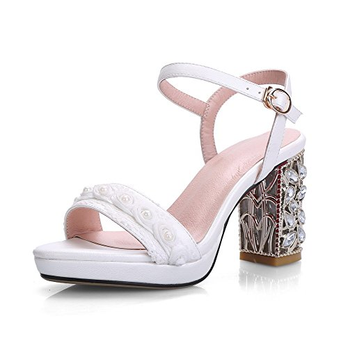 AmoonyFashion Womens Pu Solid Buckle Open Toe High Heels Sandals Beige fr2w5YIbD