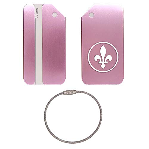 QUEBEC SIGN FLEUR DE LIS STAINLESS STEEL - ENGRAVED LUGGAGE TAG - SET OF 2 (ROSE GOLD) - FOR ANY TYPE OF LUGGAGE, SUITCASES, GYM BAGS, BRIEFCASES, GOLF BAGS