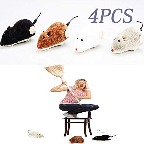 Jumping Squirrel, Plush Mouse, Winding Spring Mouse, Hamster, Simulation Whole Animal Toy (4 Pieces)