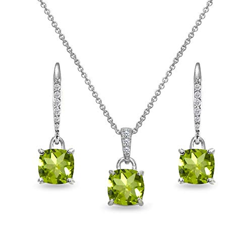 (Sterling Silver Peridot Cushion-Cut Solitaire Dangle Leverback Earrings & Pendant Necklace Set)