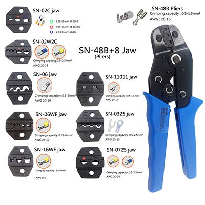 9 Plier Crimping (Sn-48B Hand Tool Crimping Pliers Plus 9 Types of Jaws Suitable for Insulation and Insulation and Spring Plug Terminals plier and 8 jaw)