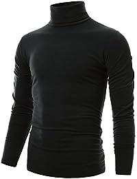 Ohoo Mens Slim Fit Soft Cotton Pullover Light Turtleneck