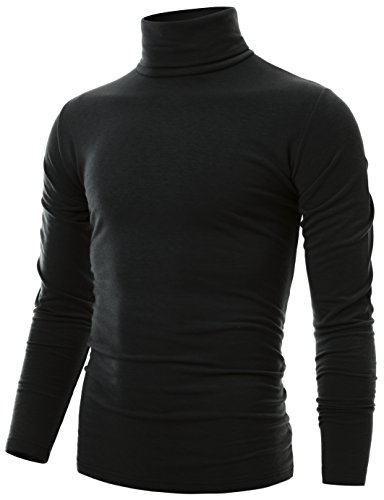 Ohoo Mens Slim Fit Soft Cotton Long Sleeve Pullover Lightweight Turtleneck/DCT001-BLACK-XL by Ohoo