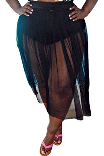 JYUAN Women's Plus Size Swimwear High Waist Bikini Set Cover up Two Piece Swimsuit Floral Top Sheer Mesh Skirt (S, Black Mesh Skirt Bottom)