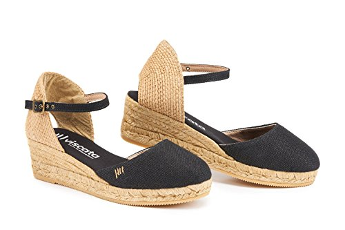 "VISCATA Canet Linen 2"" Wedge, Ankle-Strap, Closed Toe, Classic Espadrilles Heel Made in Spain Black"