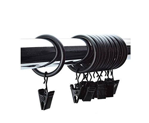 Paquete de 24 piezas de ganchos para cortina de ducha de acero inoxidable para decoración del hogar, fuertes, con ganchos de...