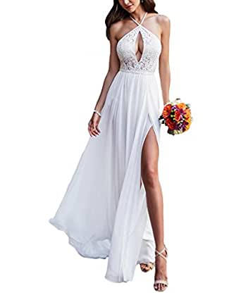 Vweil 2018 Vestido De novia Sexy Chiffon Lace Bridal Wedding Dresses For Women Ivory US20W