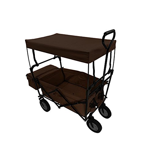 Browns Collapsible - Summates Collapsible Folding Utility Wagon with canopy ,Garden cart,outdoor,shopping (Brown)