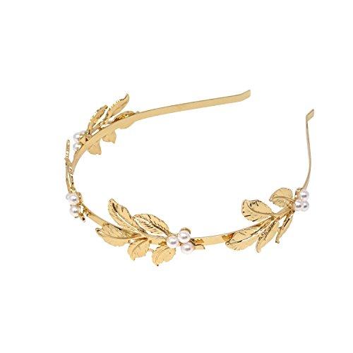 Honbay Leaf Pearl Headband Roman Goddess Leaf Branch Dainty Bridal Leaf Headband Bridal Hair Crown Head (Roman Head)