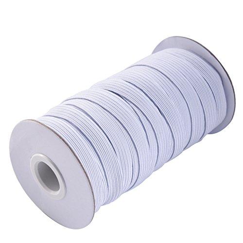 Knitting Thread Elastic (eBoot 20 Yard 1 cm Wide Elastic Spool Elastic Cord Elastic Band Flat Knitting Sewing Stretch Rope, White)