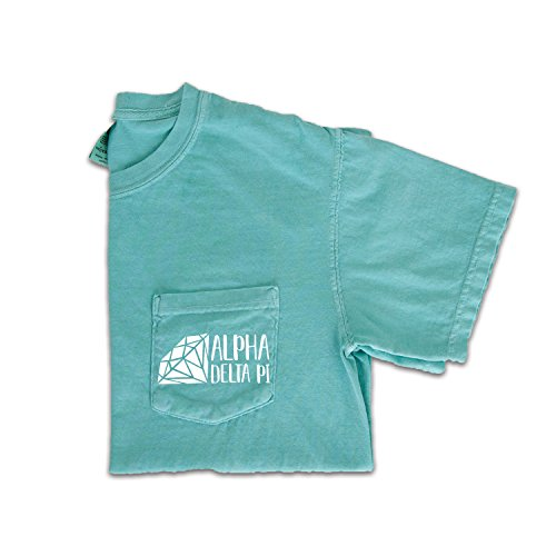 Greek Recruitment Shirts - Go Greek Chic Alpha Delta Pi Diamond Pocket Tee by Sorority Comfort Colors T-Shirt (Medium)