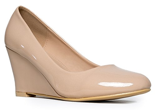 Molli Low Closed Toe Wedge Heel, Nude Patent, 11 B(M) US