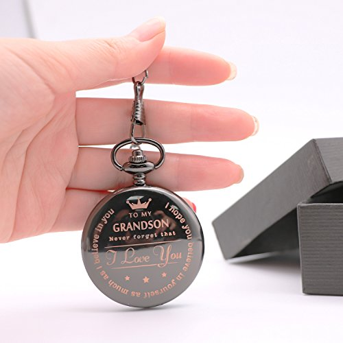 Mainbead Engraved Pocket watch,to grandson Gifts From a Grandpa, GrandMa by Mainbead (Image #2)