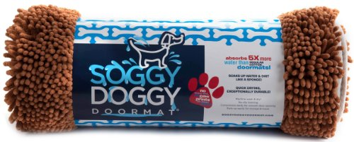 Soggy Doggy 26-Inch by 36-Inch Microfiber Chenille Doormat for Wet Dog Paws, Caramel, Large, My Pet Supplies