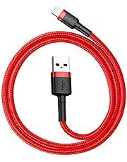 Baseus iPhone 11-11 pro -7-8-XS-XR Kısa2.4A Hızlı Şarj Halat Usb Kablo, 0.50cm, Siyah-Kırmızı