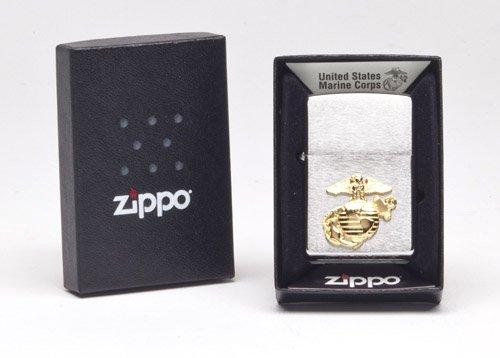 Zippo US Marines Emblem Pocket Lighter, Brushed Chrome ()