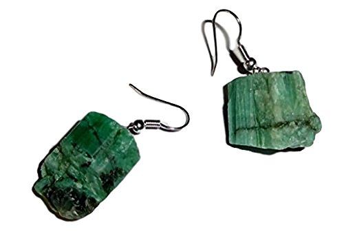 (1 Pair Raw Emerald from Brazil Natural Free Form Crystal Healing Gemstone Earrings)