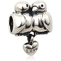 Bird Charm 925 Sterling Silver Animal Charm Husband Wife Couple Charm for Pandora Bracelets Valentine's Day Gifts Idea