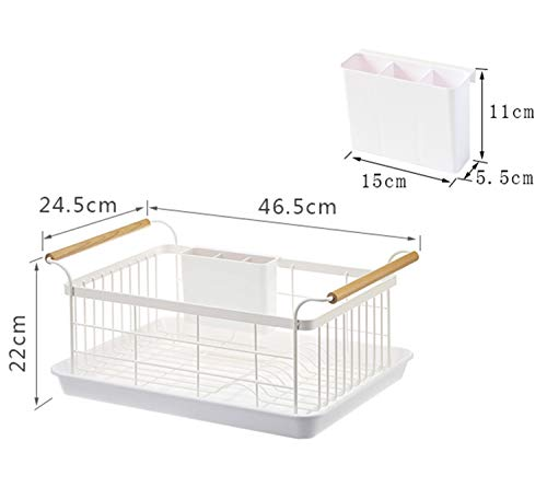 CasualuxKitchen Dish Drainer, Drying Rack with Full-Mesh Storage Basket, Wooden handle, Removable Plastic Cutlery Tray