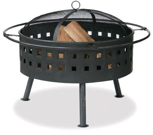 Aged Bronze Outdoor Firebowl With Lattice Design And Easy Lift Spark Arrestor --P#EWT43 65234R3FA654226 by Lisongin