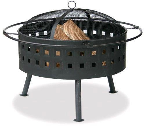 Aged Bronze Outdoor Firebowl With Lattice Design And Easy Lift Spark Arrestor --P#EWT43 65234R3FA654226