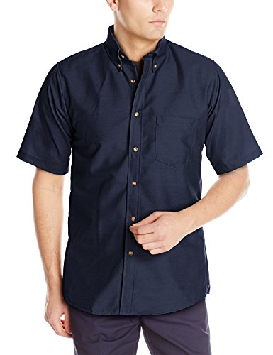 Red Kap Men's Poplin Dress Shirt, Stain and Wrinkle Resistant, Short Sleeve, Navy, 2X-Large