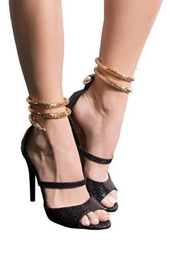 AZALEA WANG Gold Snake Anklet Wrap Peep Toe Multi Strap Stiletto Heeled Sandals-BLACK SNAKE_8 ()