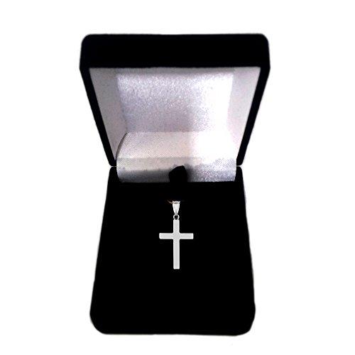 14K Or Blanc Pendentif Croix brillant carré
