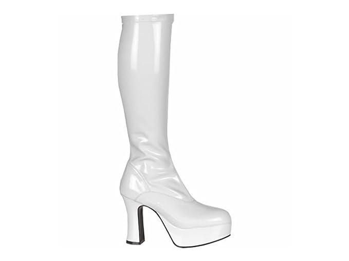 7f29260c255 White Patent Platform Fancy Dress Boots - Size UK 8  Amazon.co.uk ...
