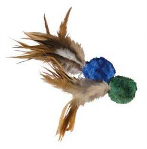 KONG Naturals Crinkle Ball with Feathers Cat Toy, Colors Vary, 2-Pack Feather Ball Cat Toy