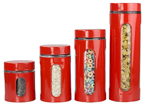 Home Basics 4-Piece Glass Canister Cylinder Set with Clear Window ()