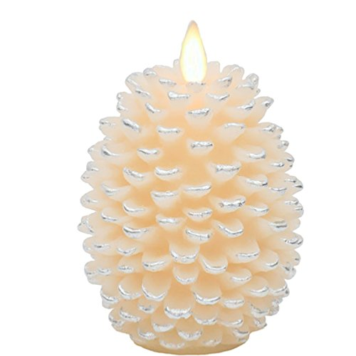 White Pinecone Flameless LED Candle | 4Wx6H | Moving Flame | Battery Operated with Timer | Remote Ready | Child & Pet Safe | Fall Christmas Holiday Candle Decor by Hooga Life