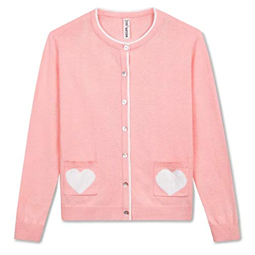 Kid Nation Girls' Sweater Long Sleeve Cardigan with Love Heart Pocket Cotton knit XL Pink
