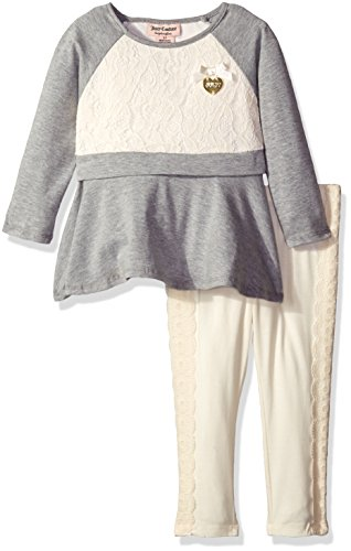 Juicy Couture Cotton Tunic (Juicy Couture Baby Girls' 2 Piece Tunic and Pant Set with Lace Trim, Gray, 12)
