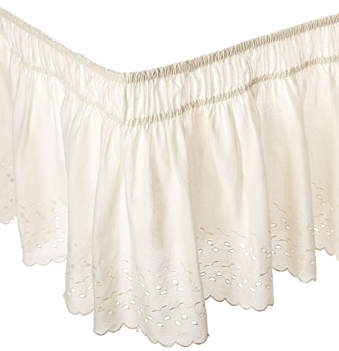 Ivory Eyelet Bedskirt - EasyFit Wrap Around Eyelet Ruffled Bed Skirt (Queen/King Bed skirt), Eyelet Ivory