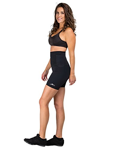 Medium Delfin Spa - Delfin Spa Women's Mineral Infused High Waist Exercise Shorts, Black, Small