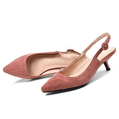 Heel Pink TAOFFEN Solid Kitten Women Slingback Pumps ZWUA67Oz
