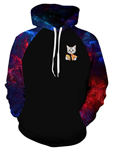 uideazone Men's Galaxy Hoodie Cool Patchwork Basketball Long Sleeve Pizza Cat Hooded Sweatshirts Plus Size