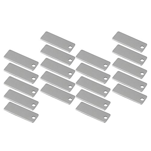 (MagiDeal 20 Pieces Silver Tone Stainless Steel Blanks Rectangle Shape Stamping Blanks Pendants Charms and Crafting Tags Jewelry Findings 25mm )